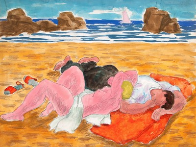 Lovers on a Beach, c. 1940, by Salvatore Pinto (Woodmere Art Museum: Museum purchase in honor of Joseph A. Nicholson, 2011)