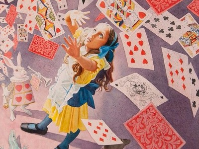 Cards Falling on Alice, 2017, by Charles Santore (Collection of the artist). Illustration for Alice's Adventures in Wonderland, by Lewis Carroll (Kennebunkport, ME: Cider Mill Press Book Publishers, 2017)