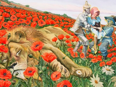 Escape from the Poppy Field, 1991, by Charles Santore (Collection of the artist). Illustration for The Wizard of Oz, by L. Frank Baum (New York: Random House Inc., 1991 and 2015)