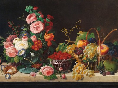 Severin Roesen: Flowers and Fruit (1871) Oil on canvas