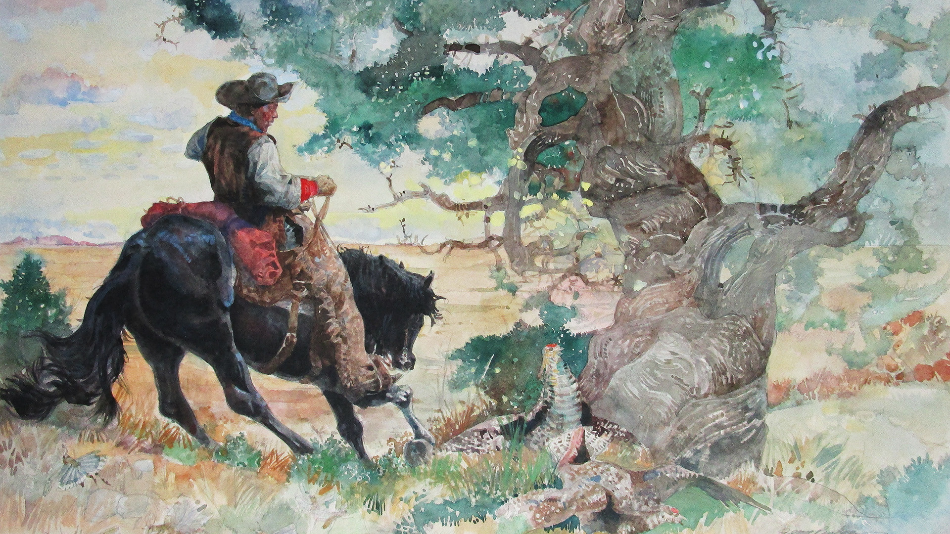First Light, from Black Cowboys, Wild Horses, 1997, by Jerry Pinkney (Courtesy of the artist)