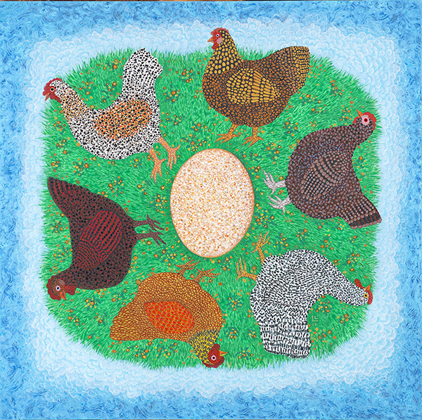 Linda Lee Alter: Both Came First: The chicken is in the egg and the egg is in the chicken (2012) Acrylic on birch plywood