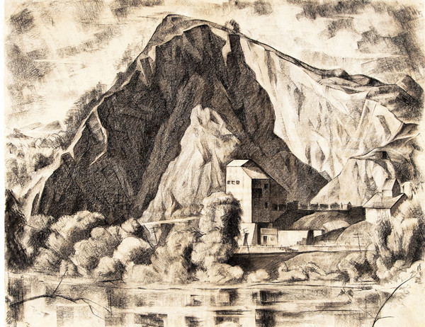 Bernard Badura: Untitled (Lambertville Quarry) (Undated) Grease pencil and/or soft graphite