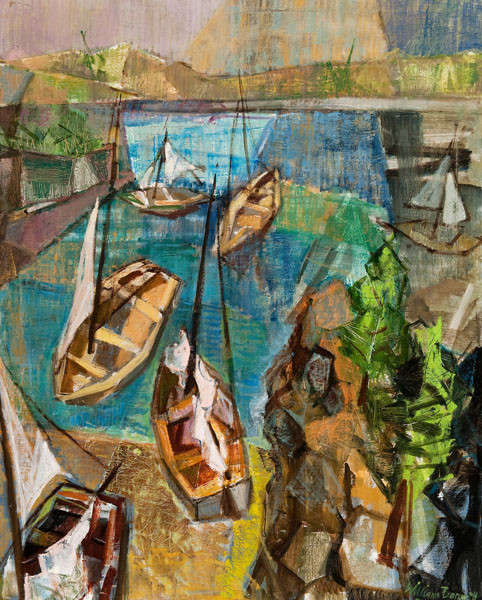 William Barnett: Sailboats (1956) Oil on canvas