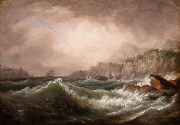 Thomas Birch: On a Rocky Coast (Undated) Oil on panel