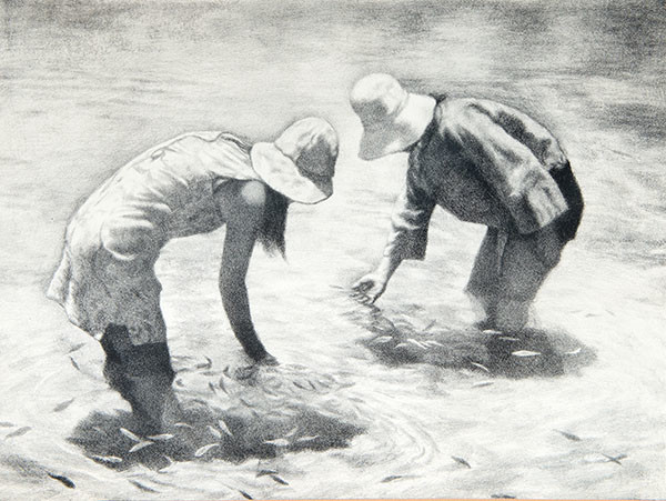 Jack Bookbinder: Untitled (Two Figures Standing in Water) (Undated) Lithography