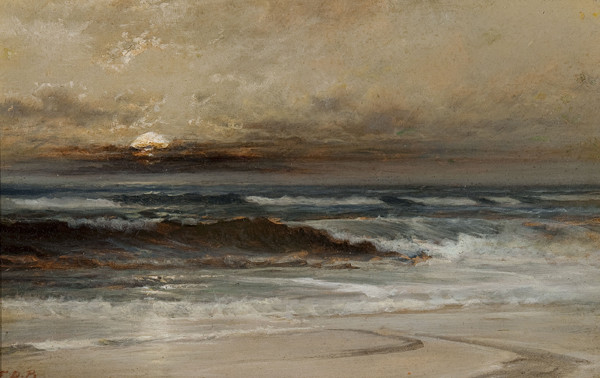 Franklin D. Briscoe: Moonlight on the Coast (1900) Oil on board