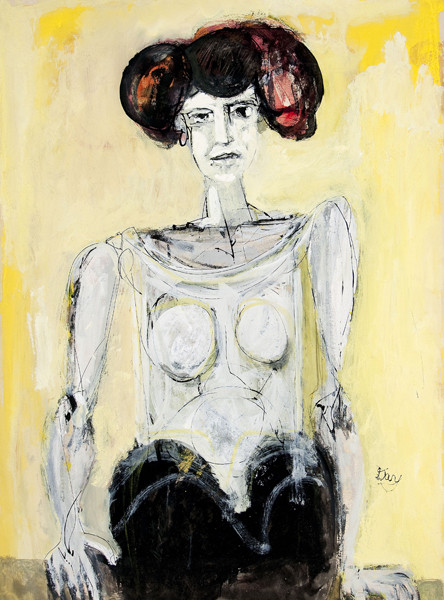 Larry Day: Seated Woman (late 1950s-early 1960s) Gouache on board