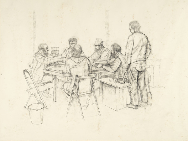 Larry Day: Poker Game (c. 1970) Graphite on paper