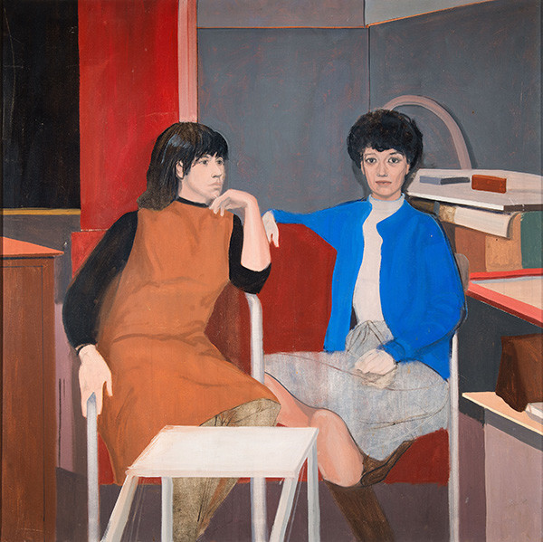 Larry Day: Untitled (Portrait of Natalie Charkow and Mitzi Melnicoff) (c. 1967) Oil on canvas