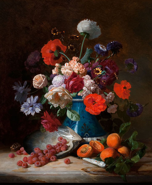 David Emil Joseph de Noter: Fruit and Flowers (19th century) Oil on canvas
