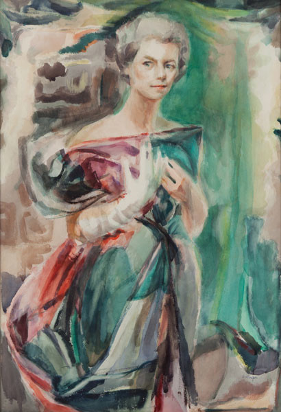 Filomena Dellaripa: Portrait of a Young Woman (Undated) Watercolor on paper