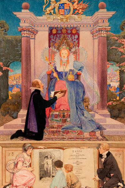 Elizabeth Shippen Green Elliott: Shakespeare Presenting His Work to Queen Elizabeth (c. 1920) Watercolor and pencil