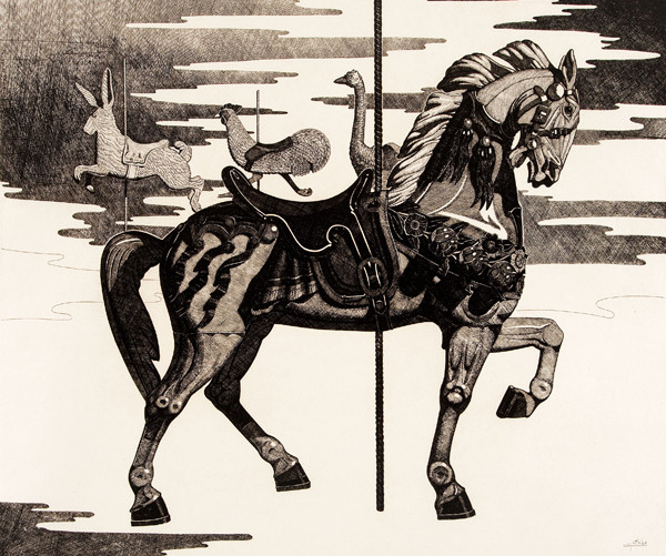 Gary T. Erbe: Fantasy in Pursuit (Undated) Etching