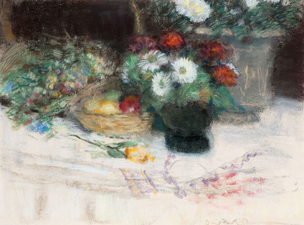 David Fertig: Flowers and Fruit II (1982) Pastel on paper