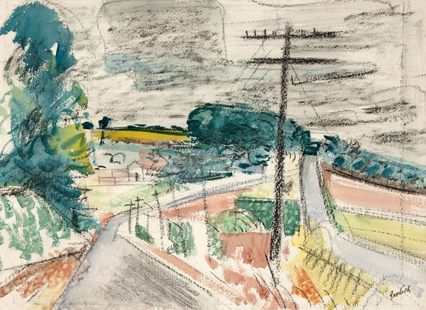 Paul Froelich: Bucks County Scene (before 1948) Charcoal and watercolor