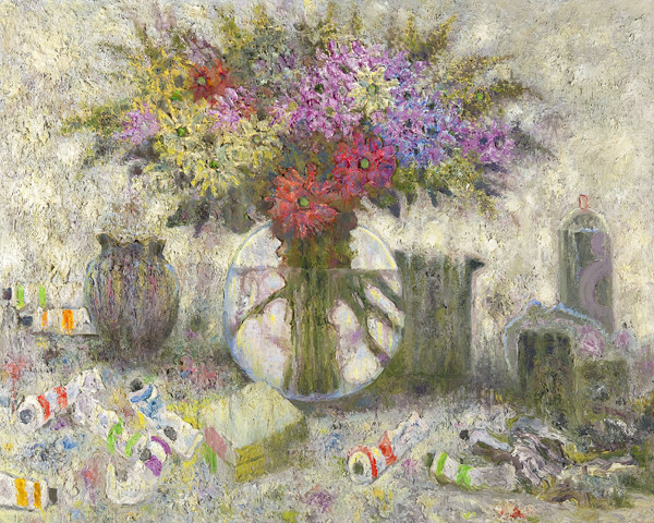 Sideo Fromboluti: Glass Vase with Flowers on Paint Tables (2004) Oil on canvas