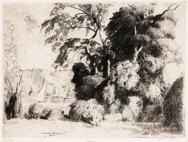 Daniel Garber: Illyria (c. 1941) Soft ground etching, etching, and drypoint