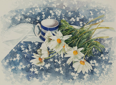 Daisies with Striped Mug