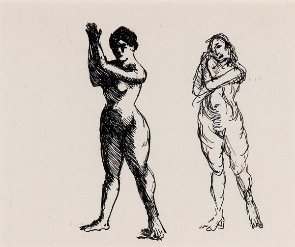 Robert Henri: Female Nudes (Undated) Pen and ink on thin woven paper