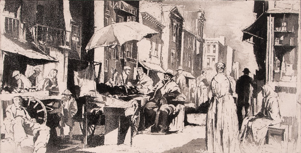 Earl Horter: Street Market (Undated) Aquatint