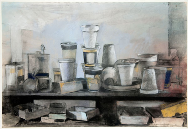 Patricia Brock Ingersoll: Styrofoam Cups (Undated) Pastel and charcoal