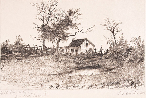 Loren James: Old Homestead Quakertown, PA (Undated) Etching