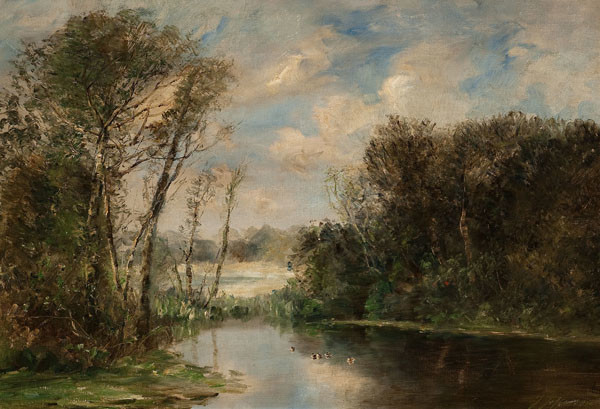 Joseph Jefferson: River Scene (Undated) Oil on canvas
