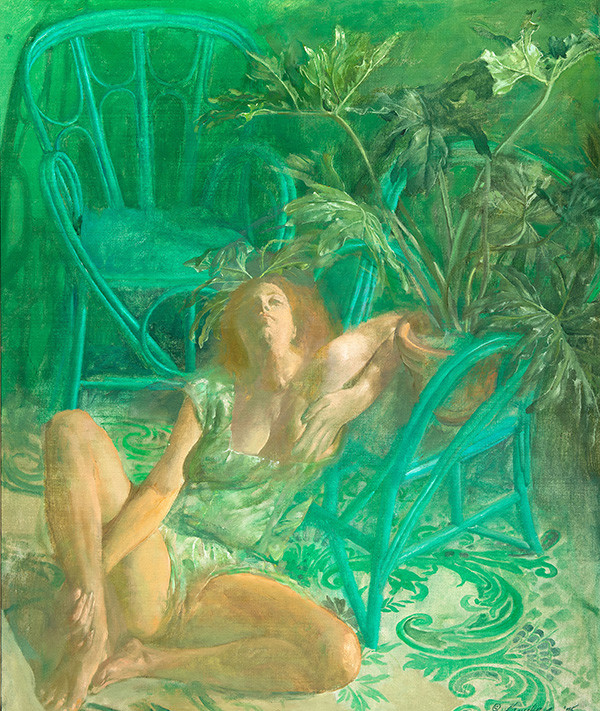 Ben Kamihira: Green Chairs (1975) Oil on canvas