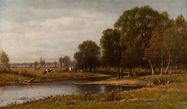 Charles W. Knapp: Landscape with Cattle, Minnehaha Creek (New Jersey) (Undated) Oil on canvas