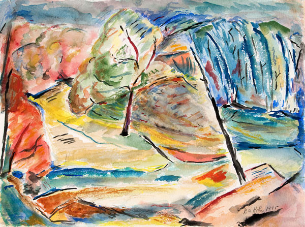 Bernard A. Kohn: Look Thro' The Trees (1945) Watercolor on board