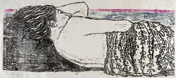 Millicent Krouse: Reclining Woman (1960) Woodcut