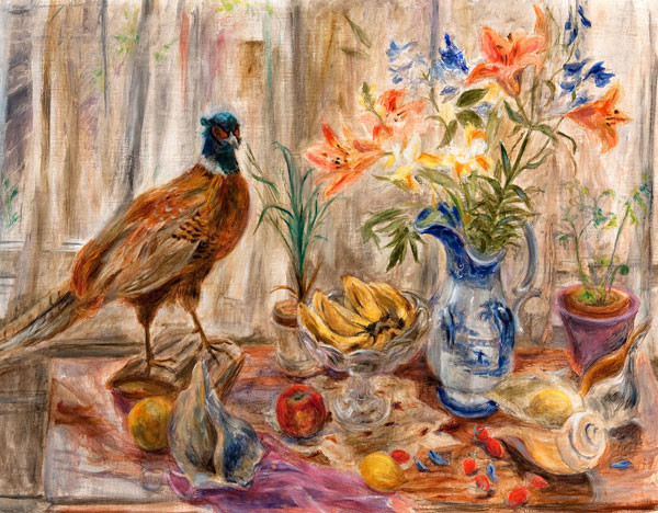 Doris (Weidner) Kunzie: Still Life with Pheasant (Undated) Oil on canvas