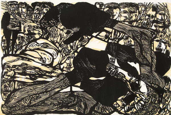 Jacob Landau: Boxing #23 (Undated) Woodcut in color