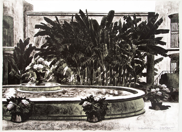 Leonard Lehrer: Courtyard at Cocoyoc (1975) Lithography