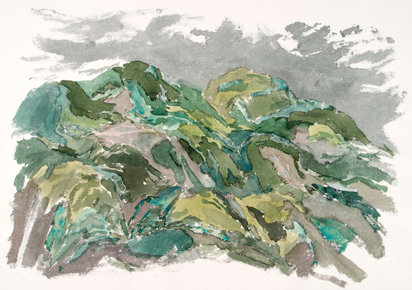 Leonard Lehrer: Untitled (Cuernavaca Landscape) (1965) Watercolor on paper