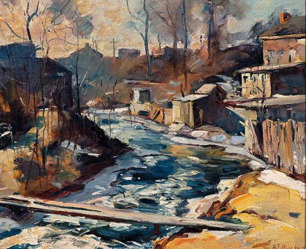 Antonio Pietro Martino: Ice Bound Stream (Undated) Oil on canvas