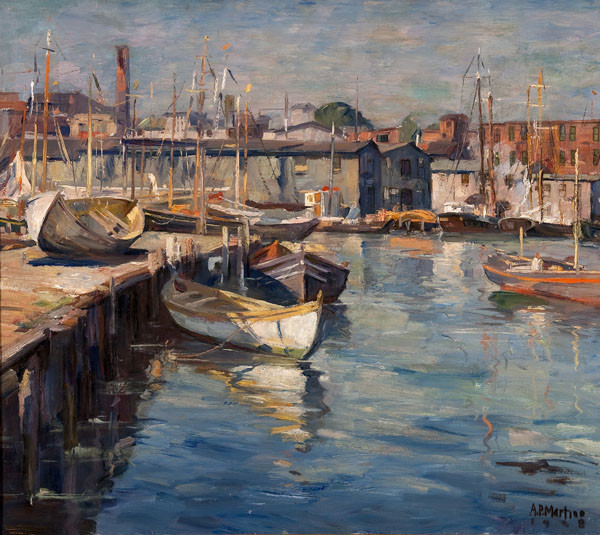 Antonio Pietro Martino: Gloucester Docks (1928) Oil on canvas