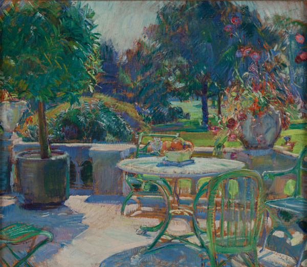 Mary Townsend Mason: Terrace-Wyndmoor (1941) Oil on masonite