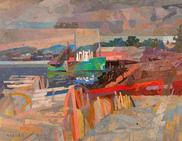 John Raymond Maxwell: Lobsterman's Cove (Undated) Acrylic and collage on canvas