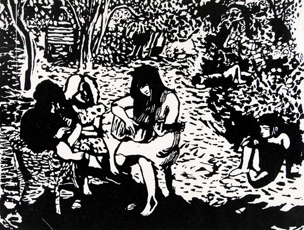 Mitzi Melnicoff: Untitled (young girls in garden) (Undated) Woodcut