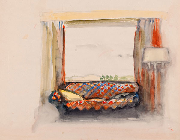 Mildred Bunting Miller: Couch with Window (c. 1920s-1930s) Opaque watercolor
