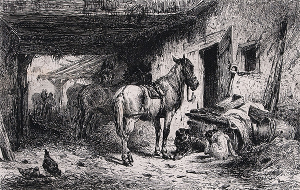 Peter Moran: Farm Building with Animals (1875) Etching