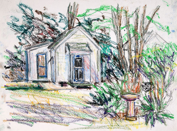 Edith Neff: [House with Bird Bath] (c. 1989) Water soluble crayon over graphite on paper