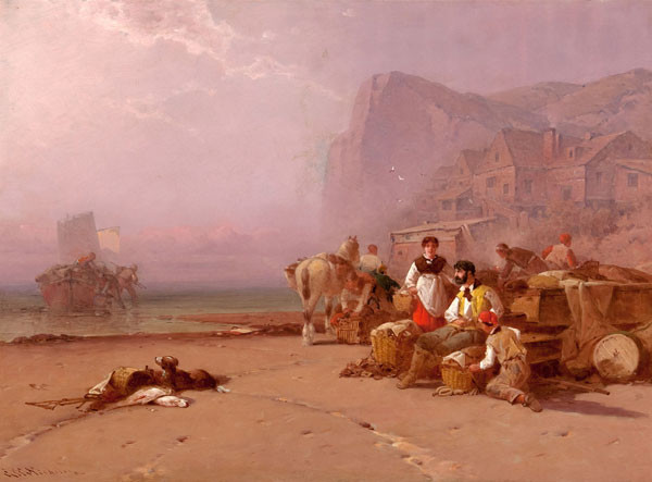 George W. Nicholson: Fisherman Landing (19th Century) Oil on canvas