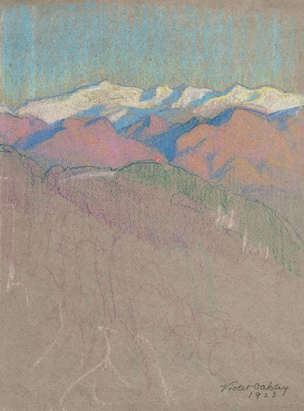 Violet Oakley: Untitled, (mountain landscape) (Undated) Pastel on laid paper