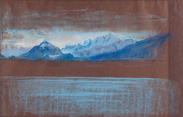 Violet Oakley: Mont Blanc at Dawn From Geneva (c. 1937) Pastel on laid paper