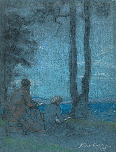 Violet Oakley: Two Figures Seated at Lakeside (c. 1940) Pastel on heavy laid paper