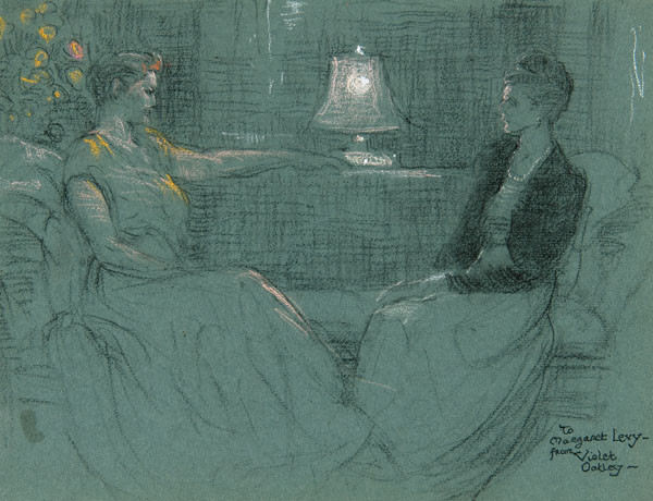 Violet Oakley: Untitled [Two Women] (Undated) Pastel and charcoal