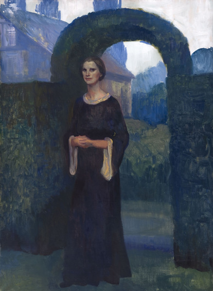 Violet Oakley: Eleanor Chance [Pyle] in Front of Garden Archway at Cogslea (Undated) Oil on canvas